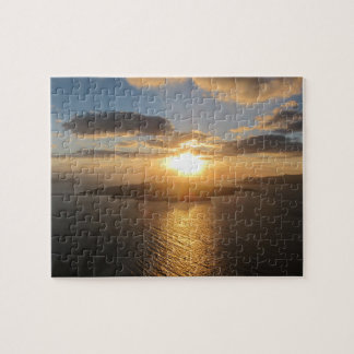 Guld- Santorini solnedgång Pussel