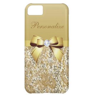 Guld- sequins-, pilbåge- & diamantpersonlig iPhone 5C fodral