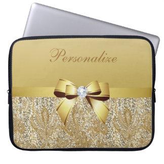 Guld- sequins-, pilbåge- & diamantpersonlig laptop fodral