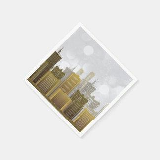 Guld silver, stads- horisont, helgdag pappersservett