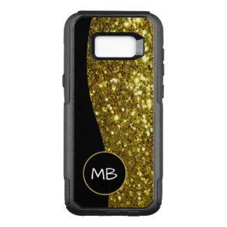 Guld simulerad glitterMonogram OtterBox Commuter Samsung Galaxy S8+ Skal
