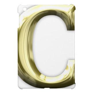 Guld- skina guld- alfabet för brev C iPad Mini Fodral
