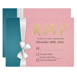 Guld skrivar & bröllopet OSA för blått för 8,9 X 12,7 Cm Inbjudningskort