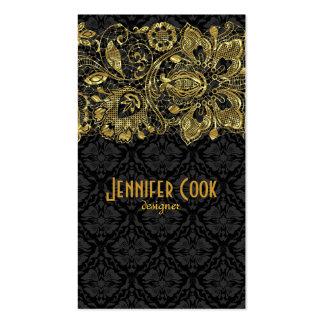 Guld- snöre för vintage & blom- damaster set av standard visitkort