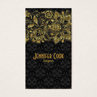 Guld- snöre för vintage & blom- damaster visitkort