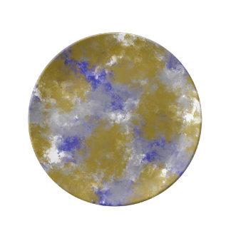 Guld snyltar tryckguld, & blått pläterar porslinstallrik