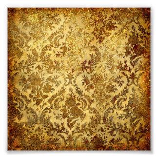 Guld som är lantligt, vintage, antikvitet, damast,