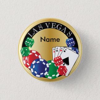 Guld- spelare Las Vegas - tärning, kort, Mini Knapp Rund 3.2 Cm