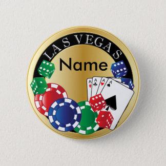 Guld- spelare Las Vegas - tärning, kort, Standard Knapp Rund 5.7 Cm