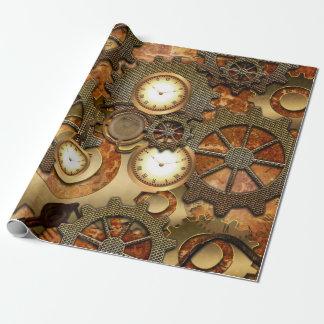 Guld- steampunk presentpapper