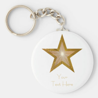 """Guld- stjärna keychainvit """"för din text"""" rund nyckelring"""