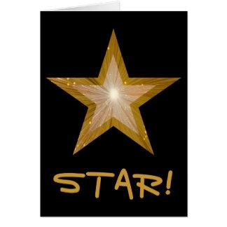 """Guld- stjärna """"STJÄRNA!"""", """"Tacka dig"""" att card Hälsningskort"""