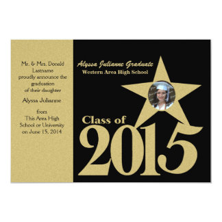 Guld- stjärnafoto 2015 12,7 x 17,8 cm inbjudningskort