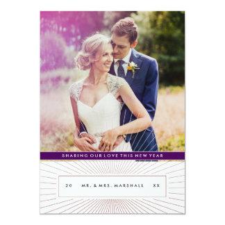 Guld- strålhelgdag eller nya år fotokort 12,7 x 17,8 cm inbjudningskort