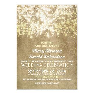 Guld stränger Glam elegant vintage bröllop för 12,7 X 17,8 Cm Inbjudningskort