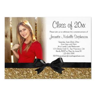 Guld- studenten för foto för Glitter-look 12,7 X 17,8 Cm Inbjudningskort