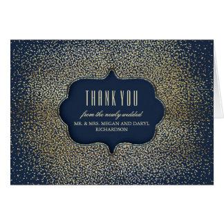 Guld- tack för bröllop för vintagekonfettimarin OBS kort