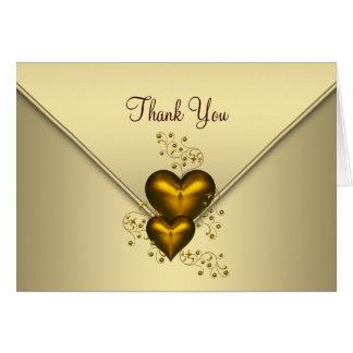 Guld- tackkort för guld- hjärtor OBS kort