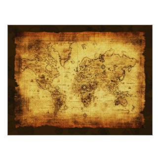Guld- tonad kartaaffisch för gammal värld affisch