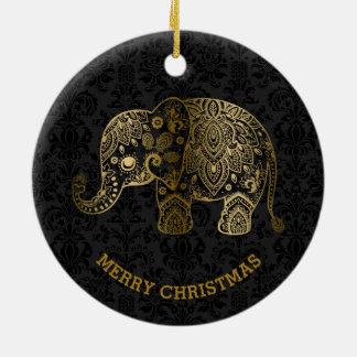 Guld tonar den blom- elefanten på svart damaster rund julgransprydnad i keramik