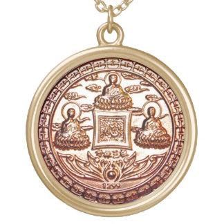 Guld- Trikaya Buddha mirakelTalisman Guldpläterat Halsband
