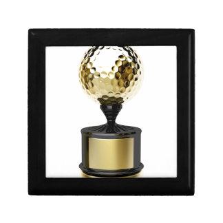 Guld- trofé med golfbollen smyckeskrin