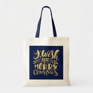 Guld- typografi för glittergod julelegant budget tygkasse