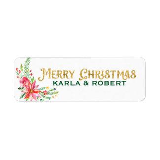 Guld- typografi- och blommigtbukett för god jul returadress etikett