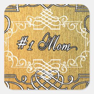 guld- typografimors dag för mamma #1 fyrkantigt klistermärke