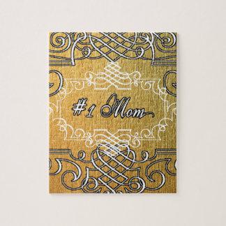 guld- typografimors dag för mamma #1 pussel