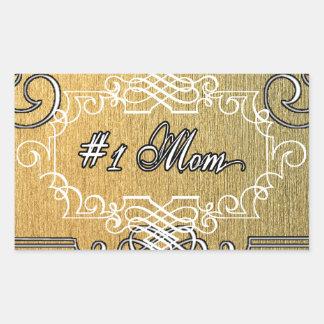 guld- typografimors dag för mamma #1 rektangulärt klistermärke
