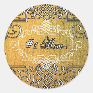 guld- typografimors dag för mamma #1 runt klistermärke