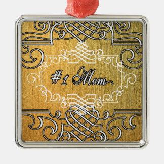guld- typografimors dag för mamma #1 silverfärgad fyrkantigt julgransprydnad
