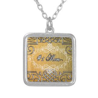 guld- typografimors dag för mamma #1 silverpläterat halsband