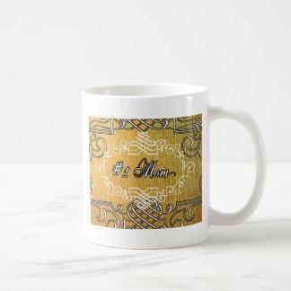 guld- typografimors dag för mamma #1 vit mugg
