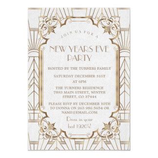 Guld- underbart party för nytt år för Gatsby 12,7 X 17,8 Cm Inbjudningskort