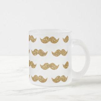 Guld- utskrivavet glittermustaschmönster muggar