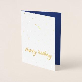 Guld- vädurkonstellationgrattis på födelsedagen folierat kort