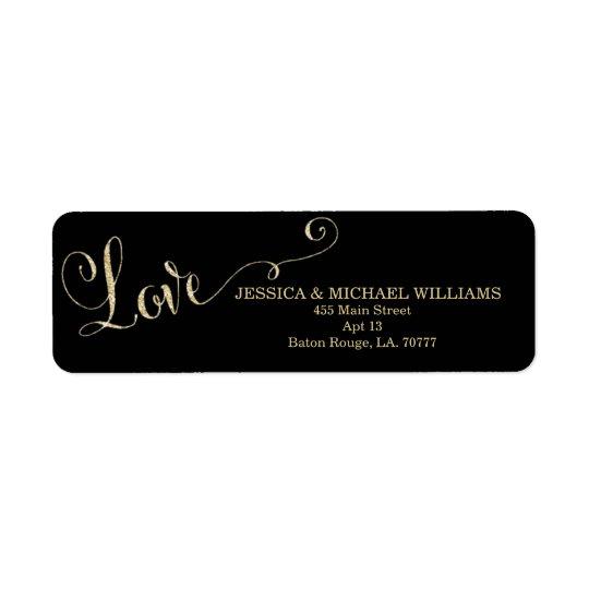 Guld- valentin för glitterkärlek | dag returadress etikett