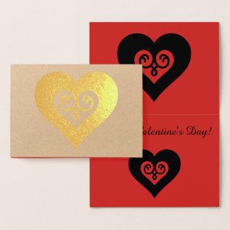 Guld- valentinhjärta folierat kort