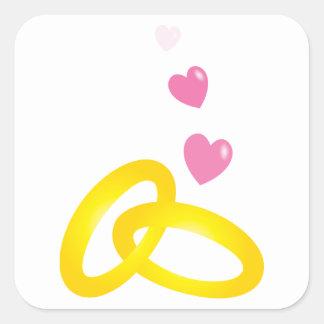 Guld- vigselringmusikband med kärlekhjärtor fyrkantigt klistermärke