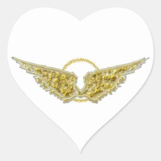 Guld- vingar med gloria hjärtformat klistermärke