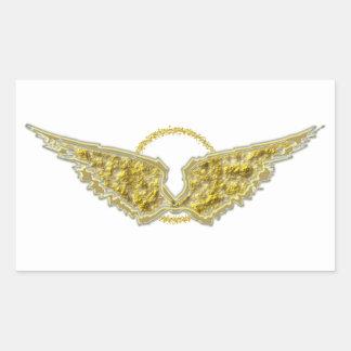 Guld- vingar med gloria rektangulärt klistermärke