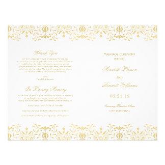Guld- vintageglamour för bröllopsprogram |