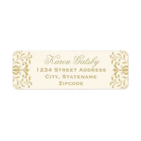 Guld- vintageglamour för returetiketter | returadress etikett