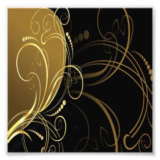 guld virvlar runt, blommigten, svarten, chic som fototryck