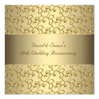Guld virvlar runt bröllopsdagpartyet för guld 50th fyrkantigt 13,3 cm inbjudningskort