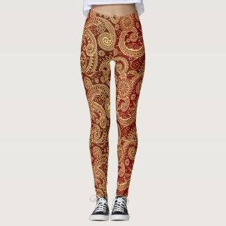 Guld- virvlar runt damasker leggings