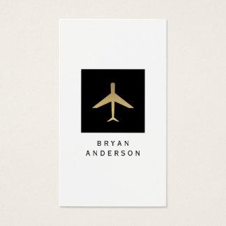 Guld- visitkort för färgflygplanlogotyp