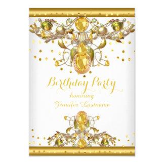 Guld- vit prydd med ädelsten födelsedagsfest 12,7 x 17,8 cm inbjudningskort